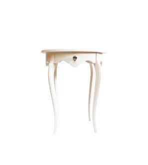 Elegancki, drewniany stolik w kolorze waniliowym z kryształem Swarovskiego