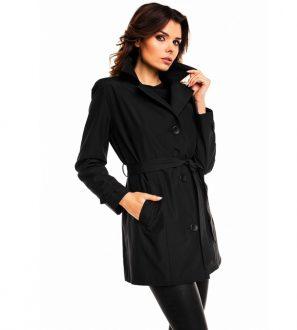 Klasyczny bawełniany płaszcz damski (czarny)