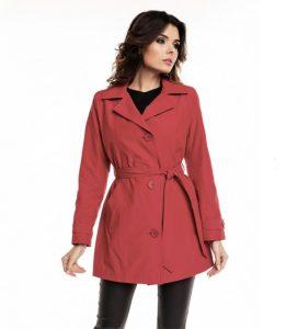 Klasyczny bawełniany płaszcz damski (czerwony)
