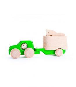 bajo - samochód drewniany zielony z przyczepą dla konia
