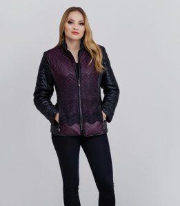 Bordowo - czarna pikowana kurtka