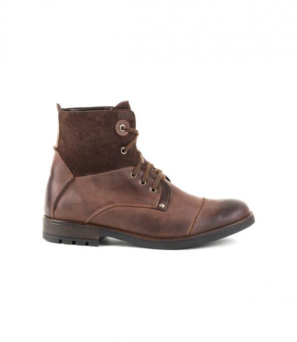 Brązowe buty zimowe skórzane Ocieplane wewnątrz, wiązane