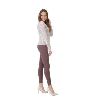 Brązowe legginsy damskie w gumkę, elastyczne