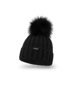 Czapka zimowa damska czarna z futerkowym pomponem