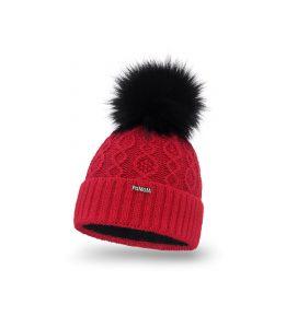 Czapka zimowa damska czerwona z futerkowym pomponem
