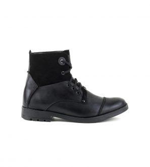 Czarne buty zimowe skórzane Ocieplane wewnątrz