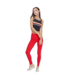 Czerwone legginsy damskie w gumkę, wygodne