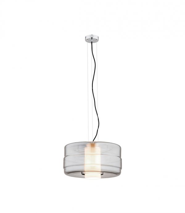 Dekoracyjna lampa wisząca szklana grafit, biały abażur kształt walca