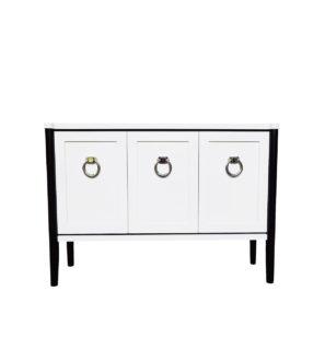 Elegancka komoda LADY, biały satynowy kolor 3 drzwi 9 półek
