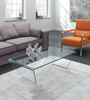 Elegancka ława ze szkła bezbarwnego do nowoczesnego salonu