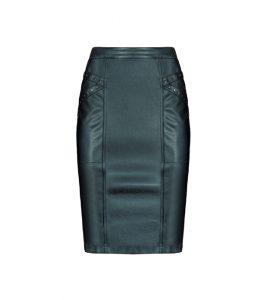 Elegancka ołówkowa spódnica czarna ze skóry ekologicznej
