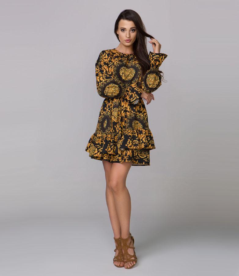 Elegancka Sukienka czarna w żółte wzory, zapina się z tyłu