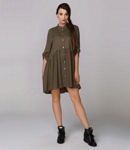 Fajna sukienka zapinana na guziki LAYLA, ciemna zieleń (oliwkowy)