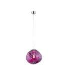Gnieciona ręcznie lampa wisząca, szklany ametyst w kolorze różu
