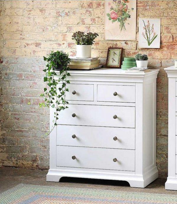 Komoda szeroka (biała) szuflady - Szerokość: 93cm Bonita 5S
