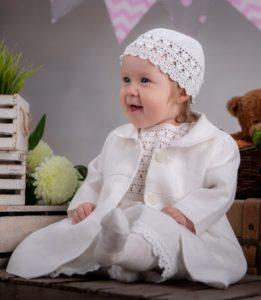 Komplet dla dziewczynki, koroneczka wykonana ręcznie bawełny, lnu