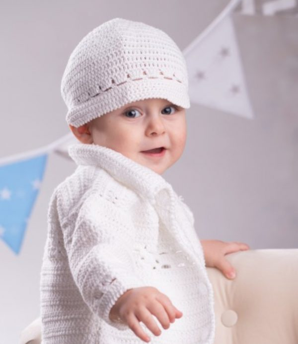 Komplet do chrztu, spodnie uszyte z wysokiej jakości białego lnu
