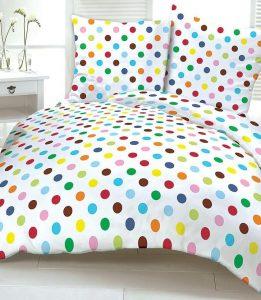 Komplet Pościeli Kora kolorowe grochy 160x200 kółka