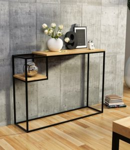Konsola designerska, drewniany blat 110cm x wys. 80cm