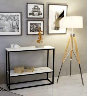 Konsola do nowoczesnych wnętrz, biały blat + dodatkowa półka