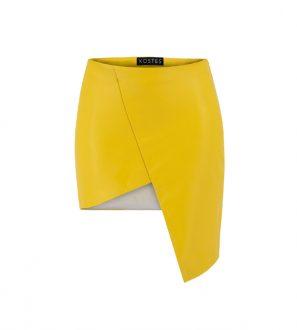 Krótka asymetryczna spódniczka skórzana w kolorze żółtym