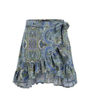Krótka spódnica kopertowa z falbanką