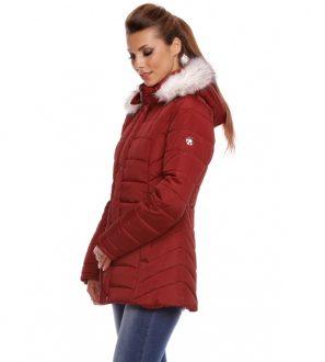 Kurtka zimowa krótka damska, ocieplana z futerkiem (czerwona)
