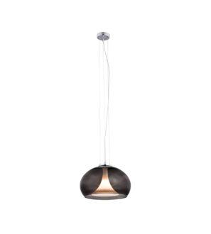 Lampa wisząca do jadalni lub salonu, duży grafitowy szklany klosz
