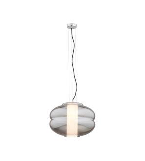 Lampa wisząca Szklany grafitowy klosz owalny i biały abażur opal
