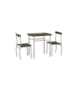 Zestaw stół + 2 krzesła do jadalni lub taras czarny WENGE