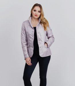 Lekka krótka kurtka w beżowo - fioletowym kolorze