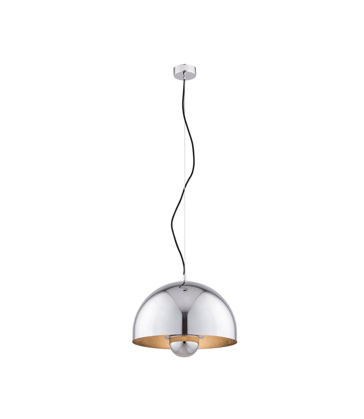 Metalowa lampa wisząca chromowa z miedzianym środkiem