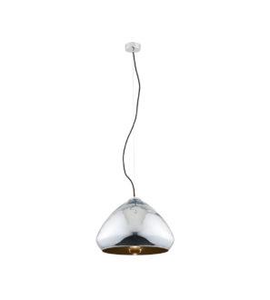 Metalowa lampa wisząca, chromowa z miedzianym wnętrzem Loftowa