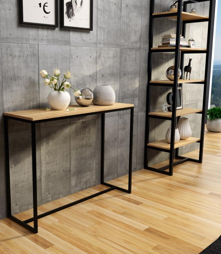 Modna podłużna konsola 120cm, drewniany blat, wysokość – 83 cm