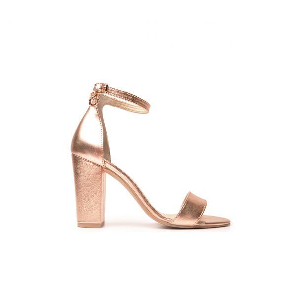 Sandały skórzane na obcasie Fiesta X-2027 (Różowe złoto)