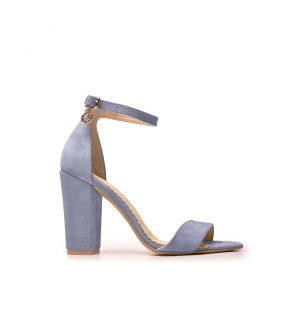 Sandały na platformie (Niebieski welur) odkryte palce