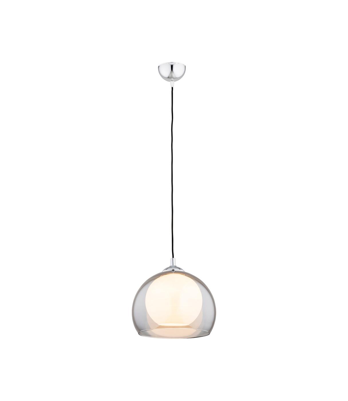 Nowoczesna lampa wisząca, okrągły szklany klosz w kolorze opal