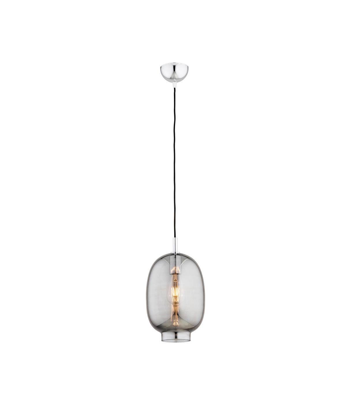 Nowoczesna lampa wisząca szklana, grafitowy klosz dymny (lister)