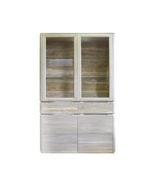 Nowoczesny dębowy kredens 2 szuflady, półki z podświetleniem