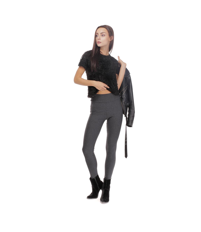 Ocieplane legginsy damskie, antracyt (grafitowe) kształtny i szczupły wygląd