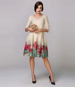 Piękna sukienka kremowa LABONI, malowane czerwone kwiaty