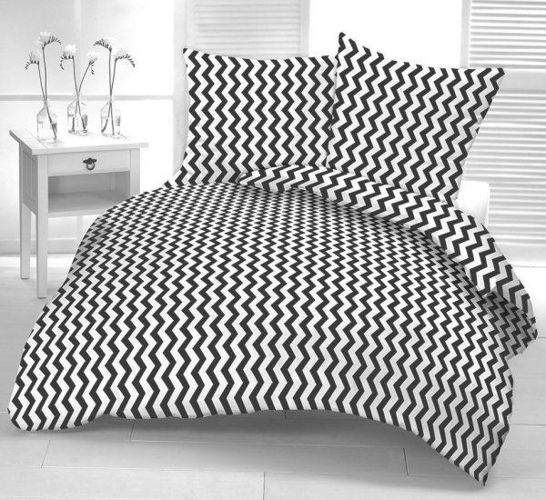 Pościel 100% bawełna biała Kora czarne Zygzaki 160x200
