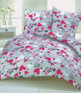 Pościel bawełniana DELUXE LOVE różowe serduszka 160x200