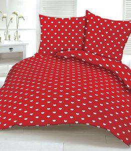 Pościel czerwona Kocham Cię białe serduszka komplet 220x200