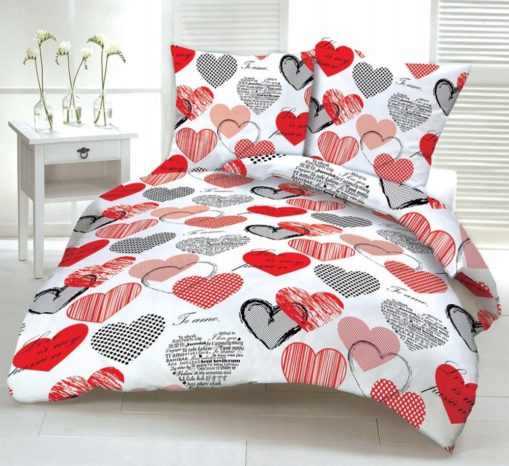 Pościel Serca Komplet kora 100% bawełna Serduszka czerwone 160x200