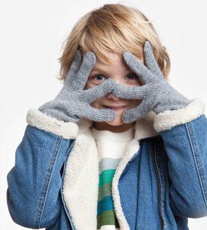Jasnoszare Rękawiczki Dziecięce