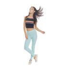 Seledynowe legginsy damskie w gumkę, bardzo wygodne