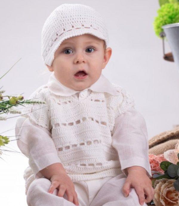 Śliczna ręcznie szyta biała kamizelka dla Chłopca 100% bawełna