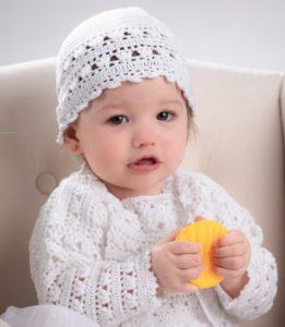 Słodki komplet do Chrztu dla dziewczynki z cienkiej 100% bawełny