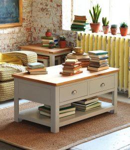 Solidny Stolik do Salonu drewniany kawowy Szerokość: 110 cm
